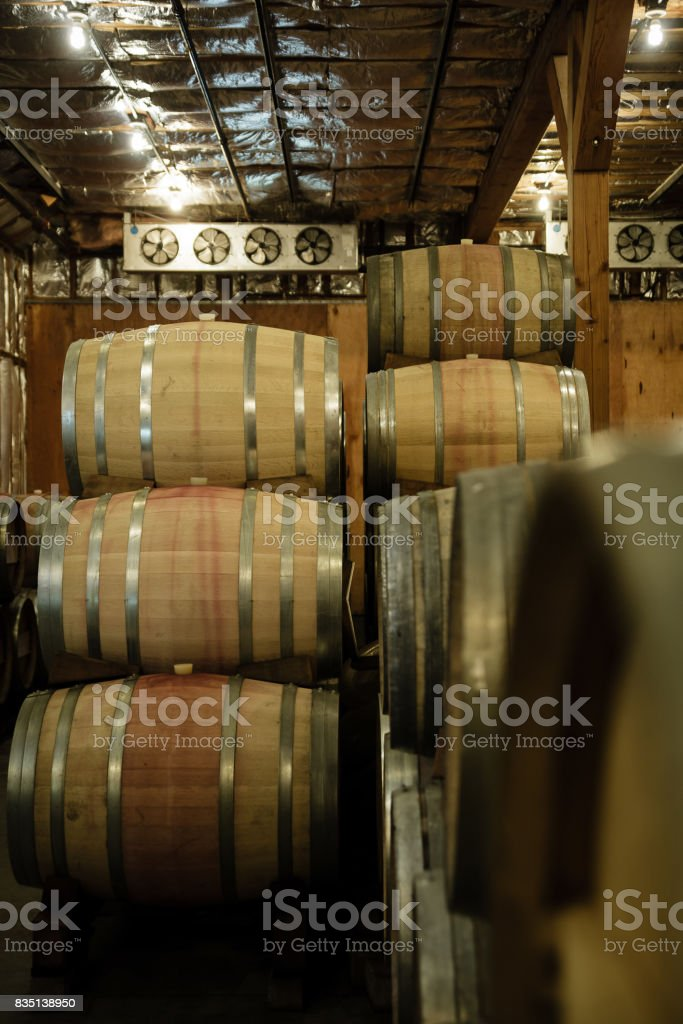 Wine Barrels in Winery Cellar stock photo