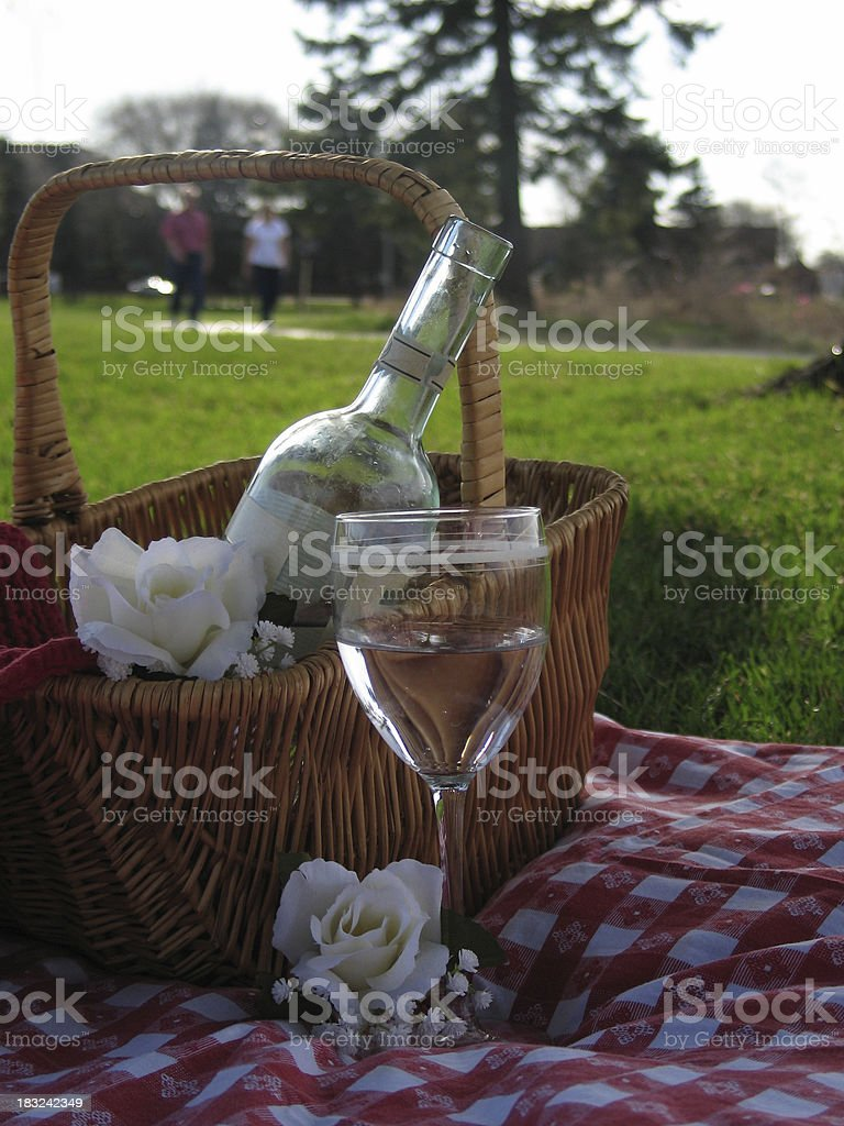 wine basket with people royalty-free stock photo