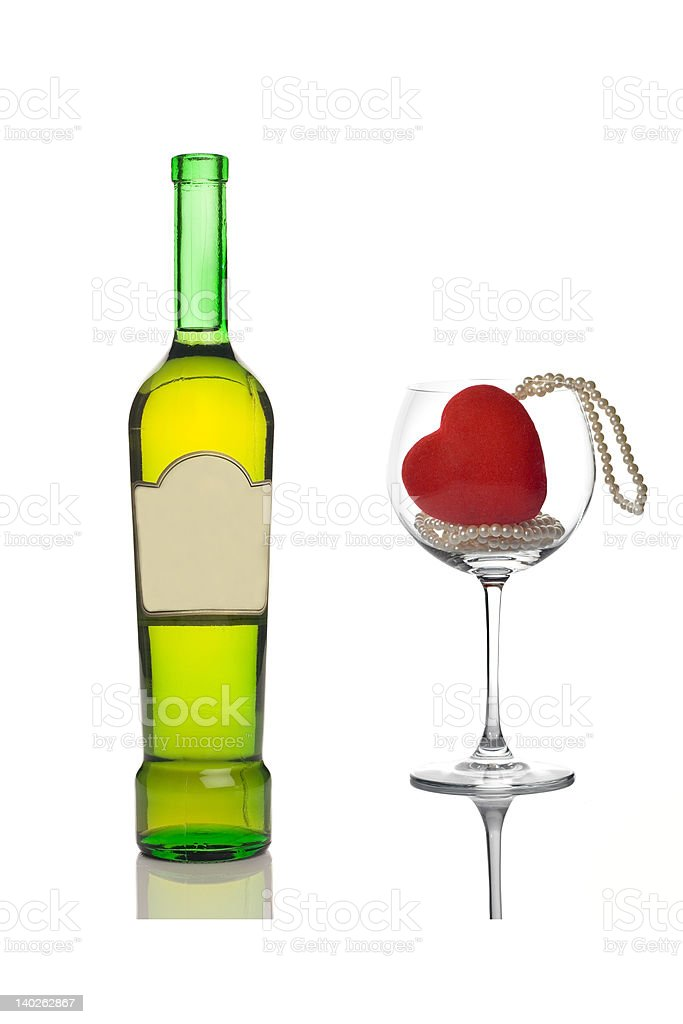 Wine bottle and an empty glass royalty-free stock photo