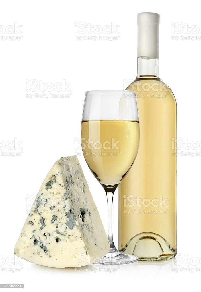 Wine bottle and blue cheese royalty-free stock photo