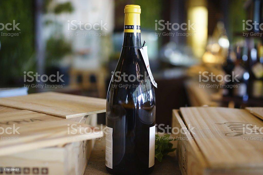 Wine Bottle and Box. stock photo