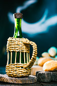 Wine bottle and breads