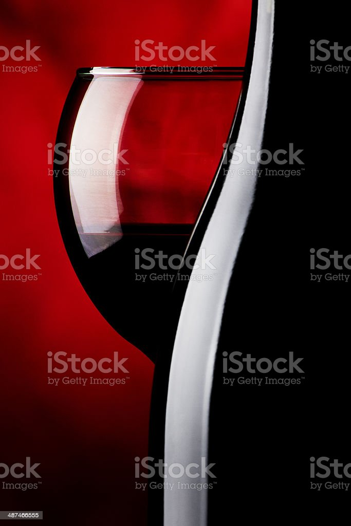Wine bottle and glass stock photo