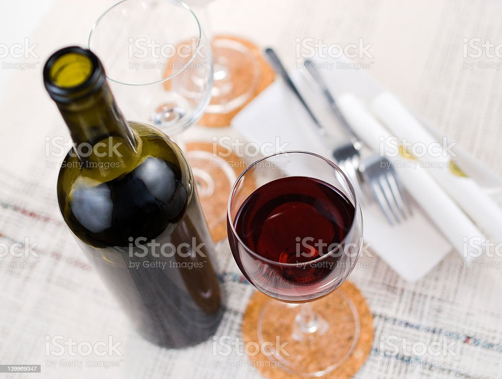 Wine bottle and glasses royalty-free stock photo