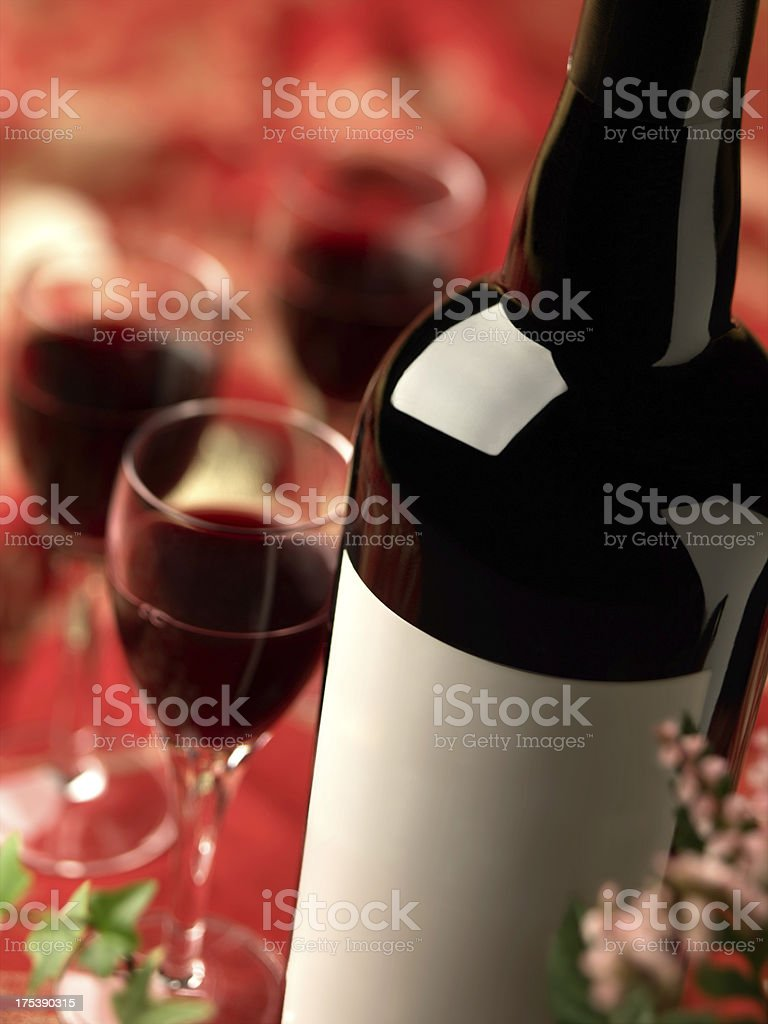 Wine Bottle and Glasses stock photo