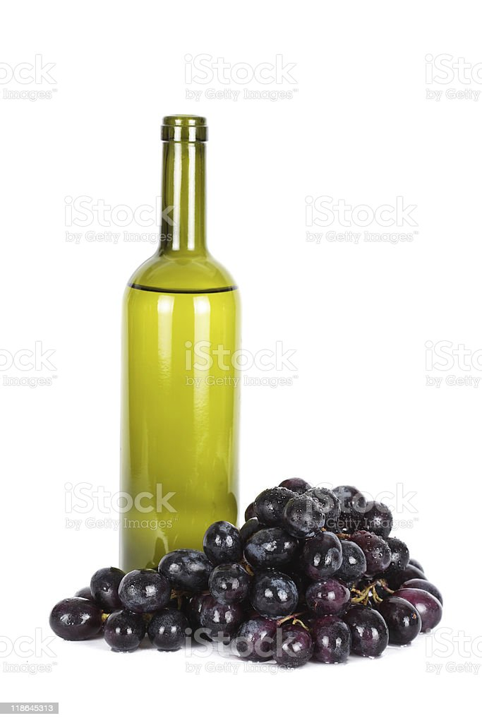 Wine bottle  and grapes royalty-free stock photo