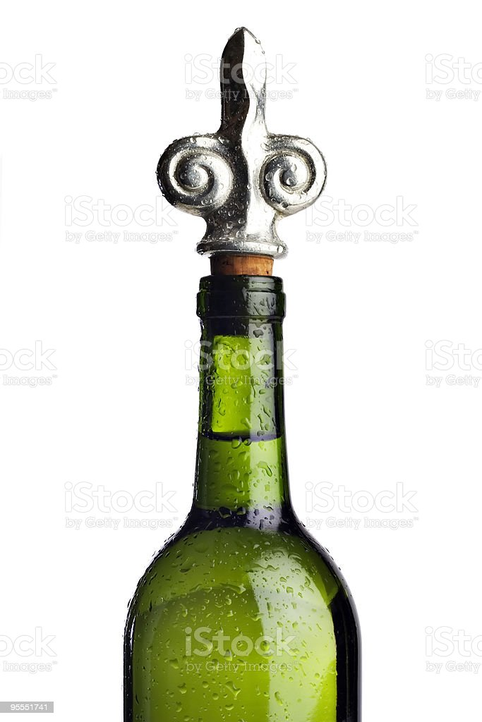 Wine bottle and stopper stock photo