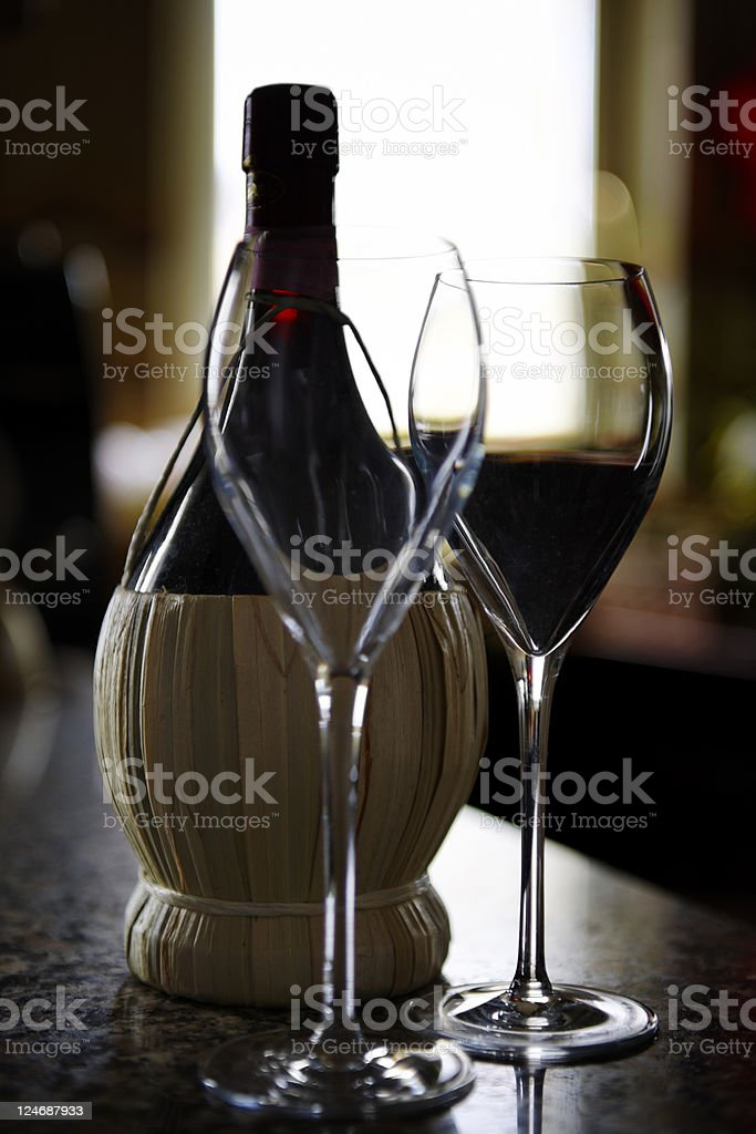 wine bottle - Chianti royalty-free stock photo