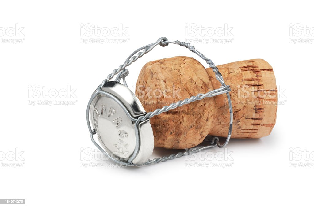 A wine bottle cork on a white background stock photo