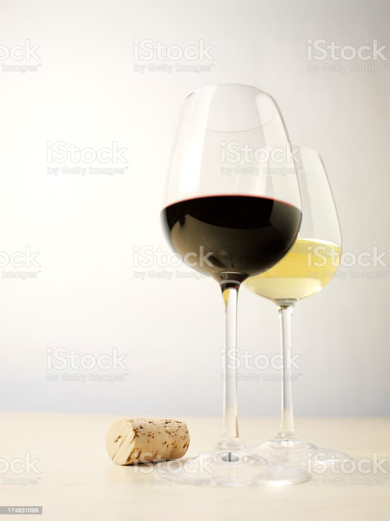 Wine Bottle Cork with Glasses of Alcohol royalty-free stock photo