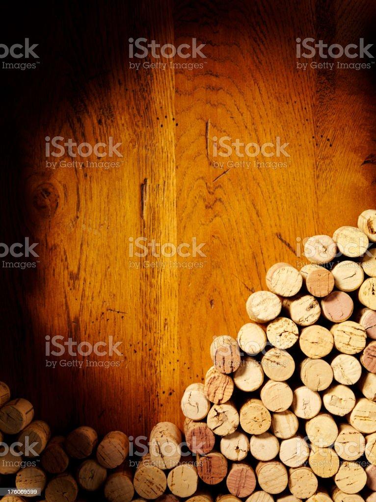 Wine Bottle Corks in a Corner stock photo