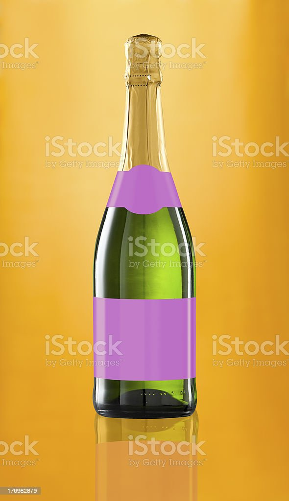 Wine bottle isolated with blank label. Clipping path included royalty-free stock photo