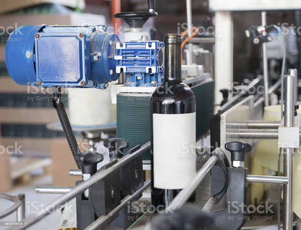 Wine bottle labeling  machine stock photo