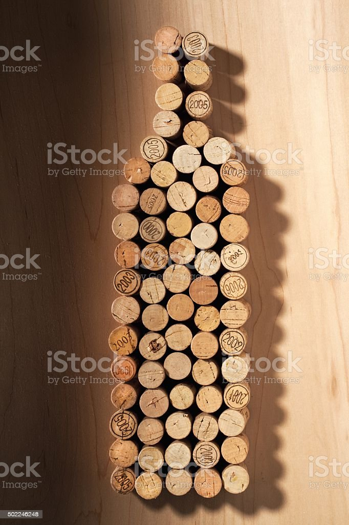 wine bottle made of cork stock photo