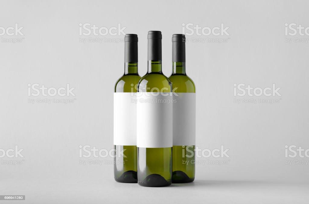 Wine Bottle Mock-Up - Three Bottles. Blank Label stock photo