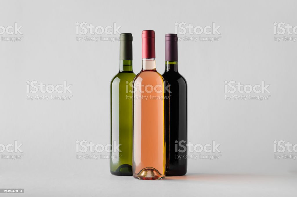 Wine Bottle Mock-Up - Three Bottles stock photo