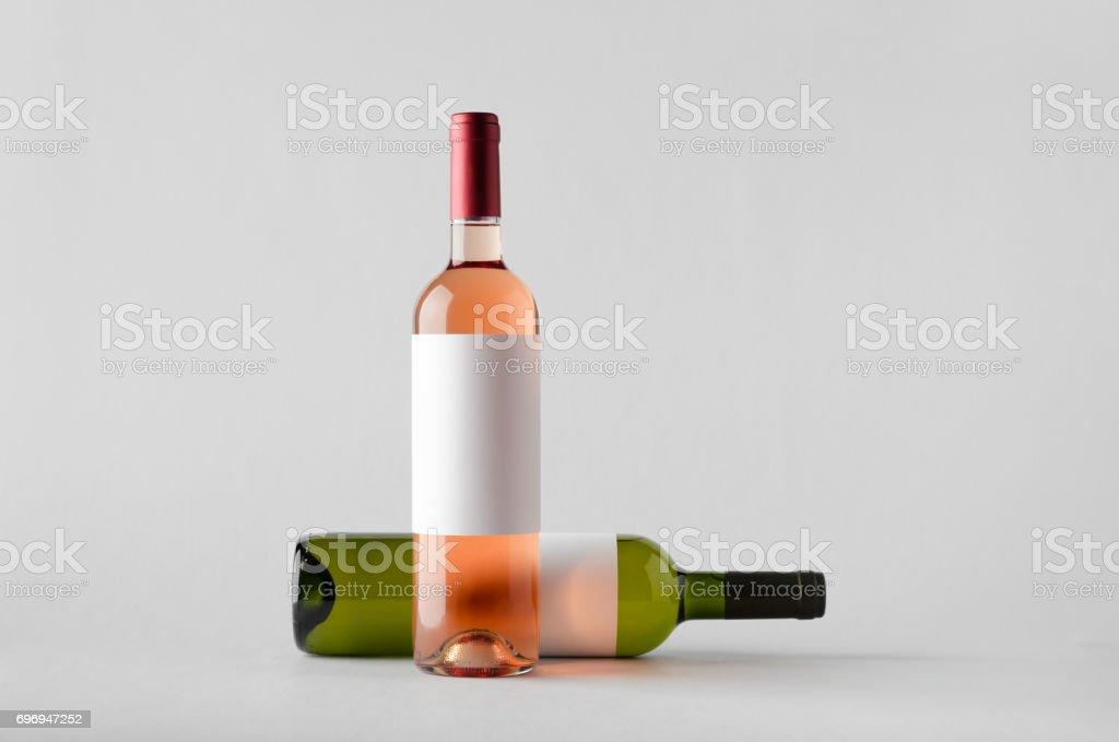 Wine Bottle Mock-Up - Two Bottles. Blank Label stock photo