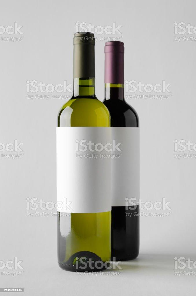 Wine Bottle Mock-Up - Two Bottles. Blank Label