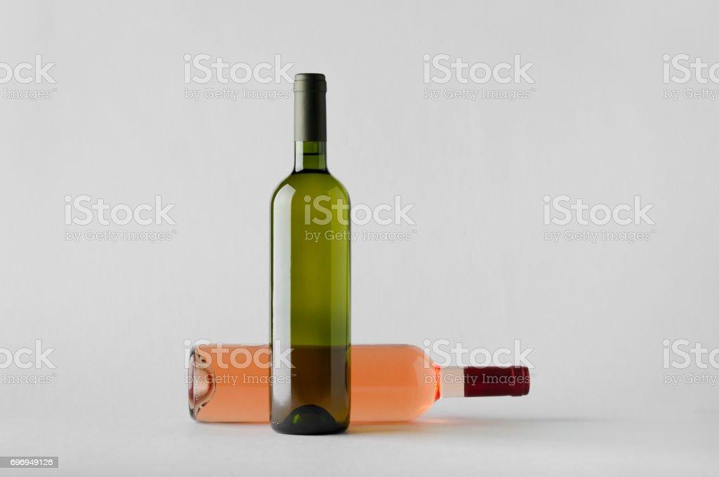 Wine Bottle Mock-Up - Two Bottles stock photo