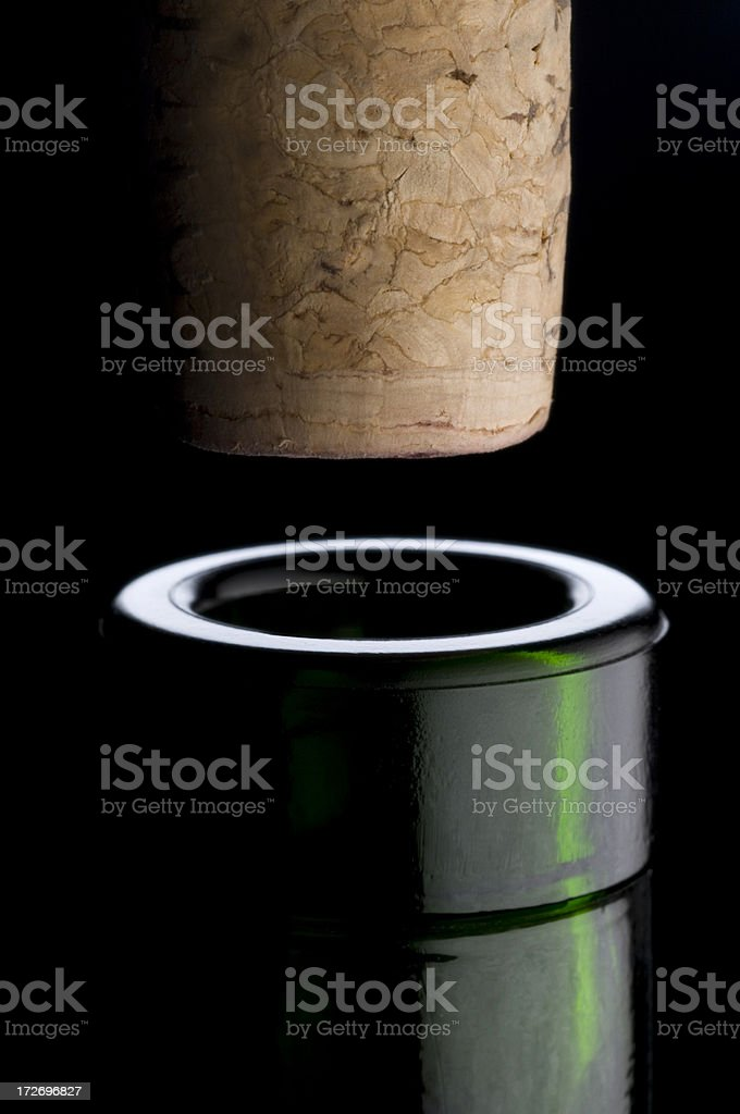 Wine bottle mouth with cork stock photo