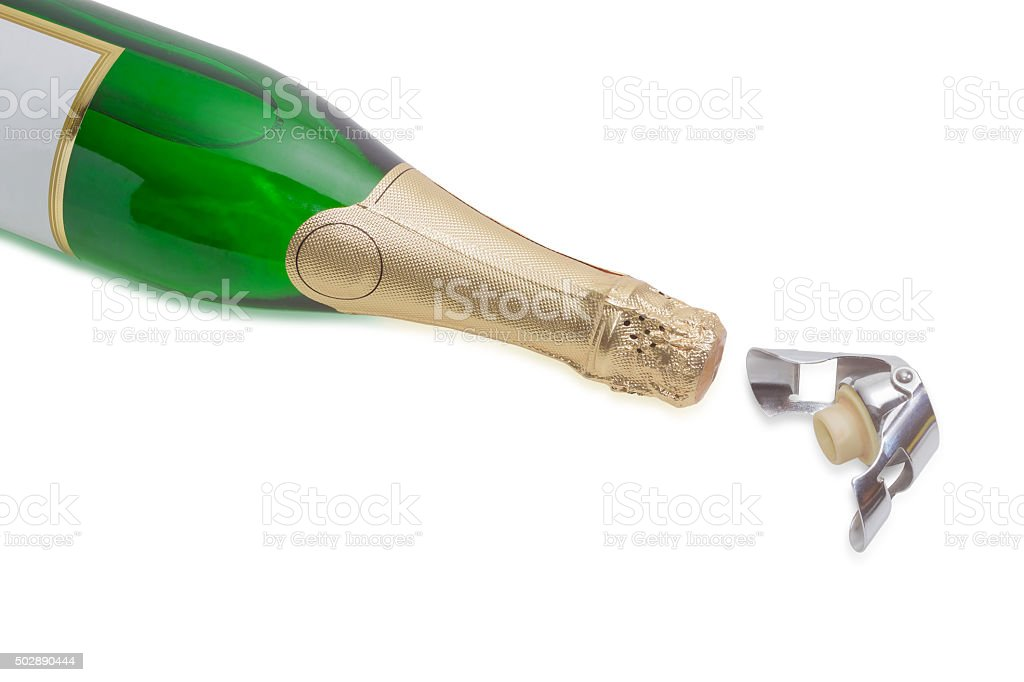 Wine bottle stopper and sparkling wine on a light background stock photo