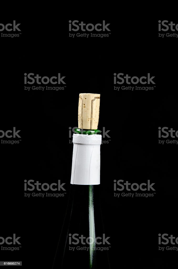 Wine bottle top with cork stock photo