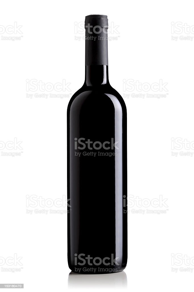wine bottle with black label stock photo