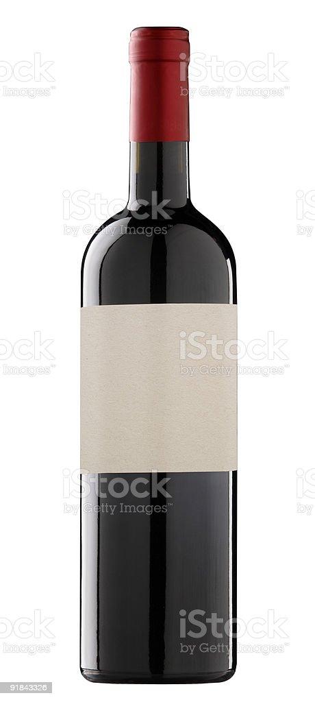 Bouteille de vin avec étiquettes vierges pour texte ou un logo. photo libre de droits