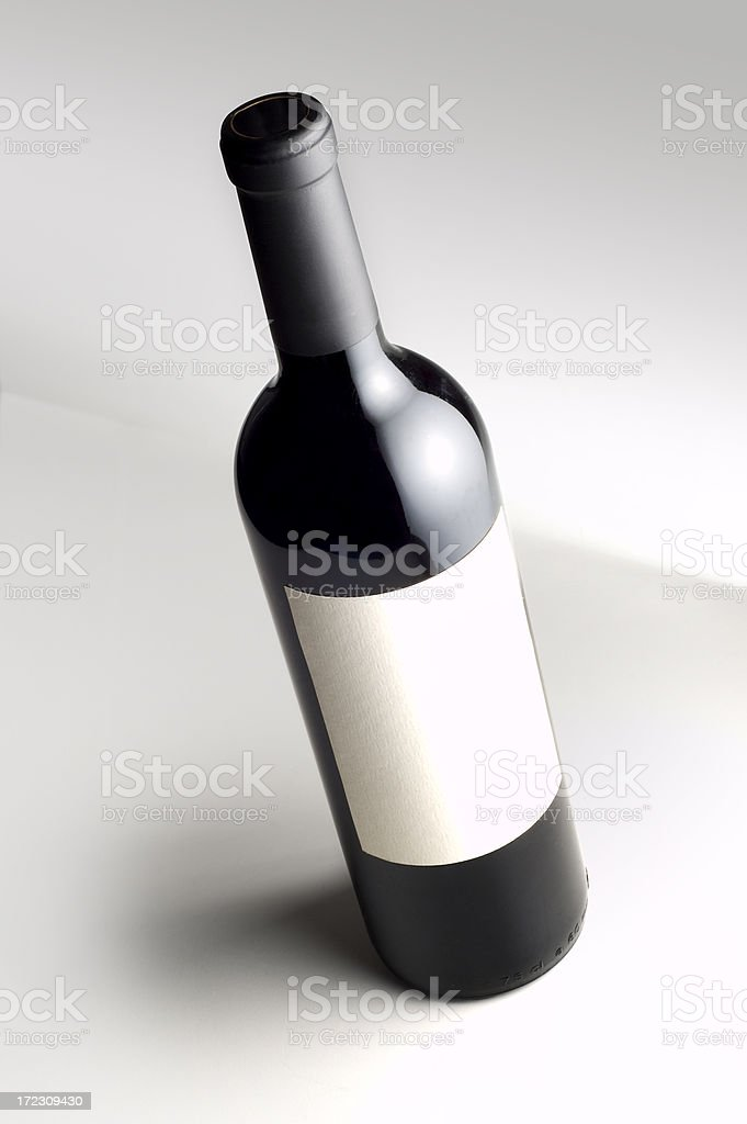 Wine bottle with blank label w/clipping path royalty-free stock photo