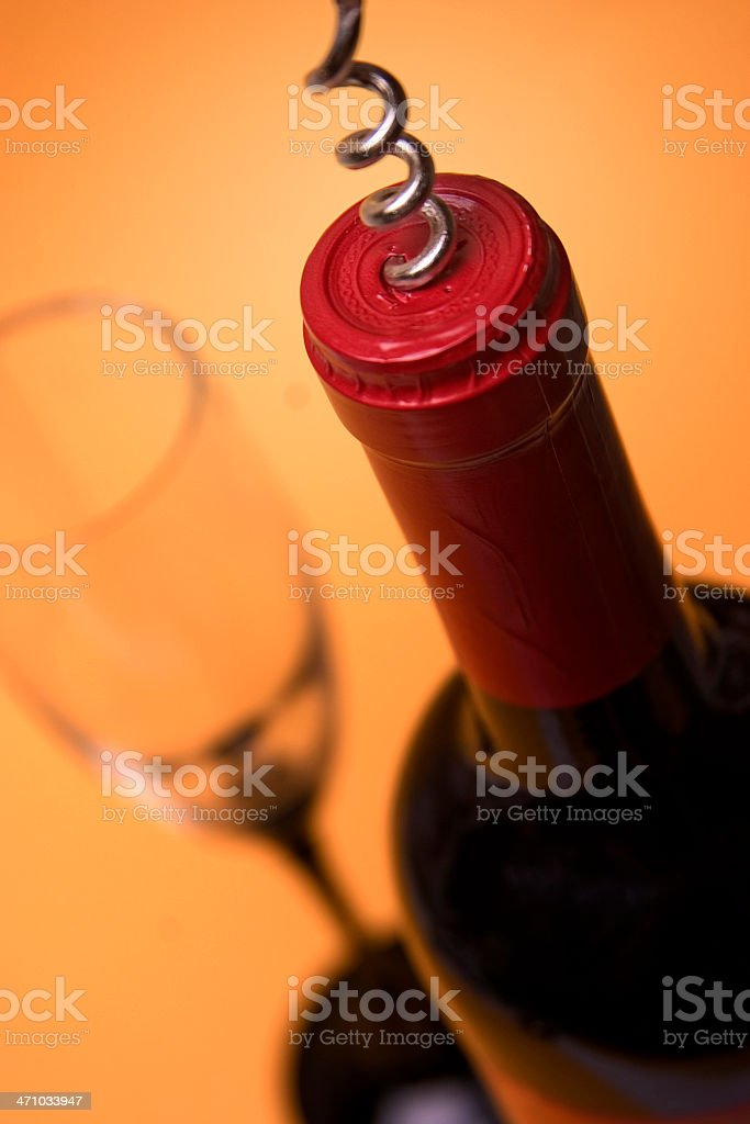 Wine Bottle with Glass and Corkscrew royalty-free stock photo