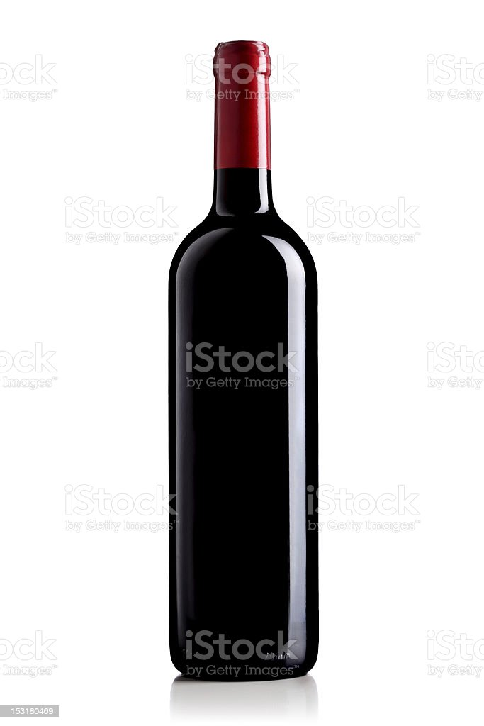 wine bottle with red label stock photo