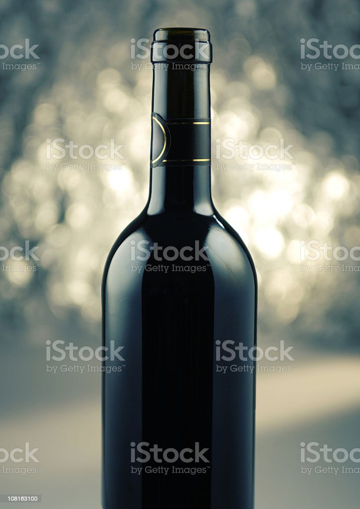 Wine Bottle with Sparkling Background royalty-free stock photo