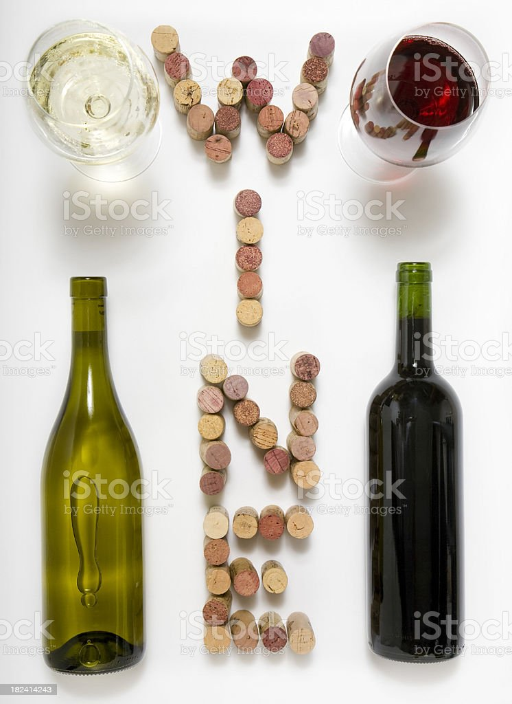 wine bottles and glasses stock photo
