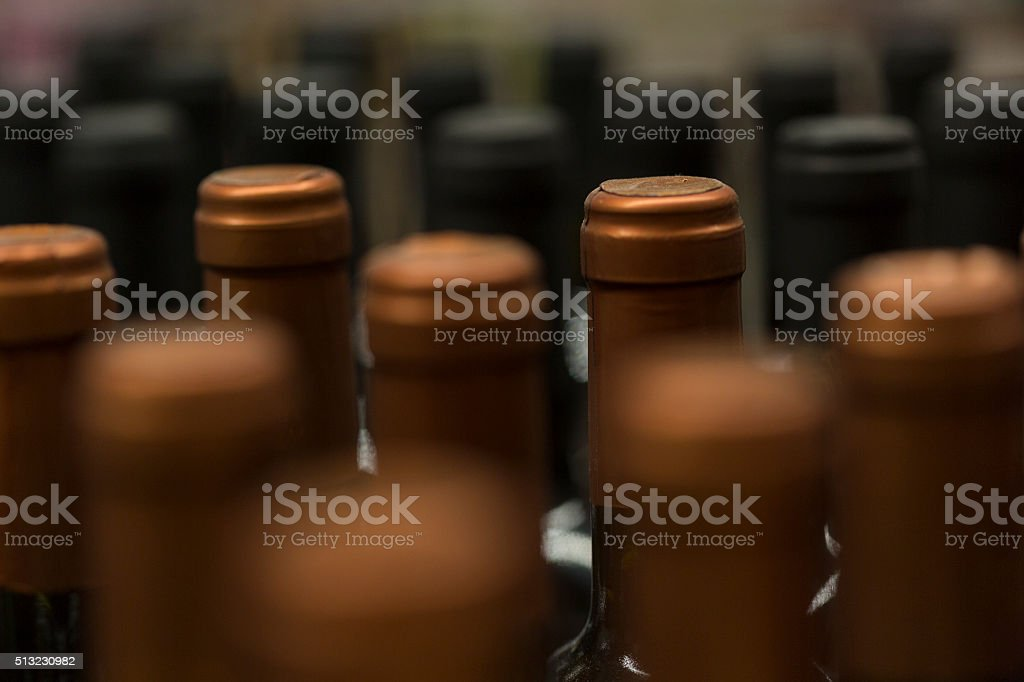 Wine bottles. Background stock photo