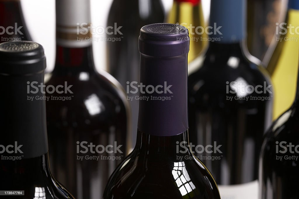 Wine bottles close up royalty-free stock photo