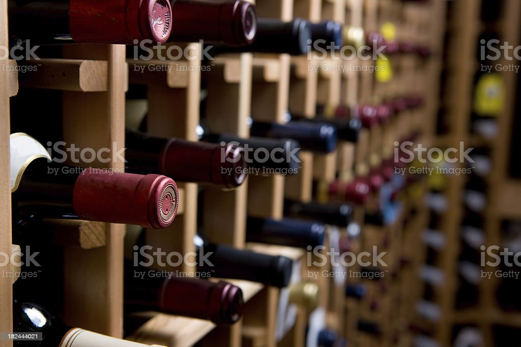 Wine Bottles In Cellar royalty-free stock photo