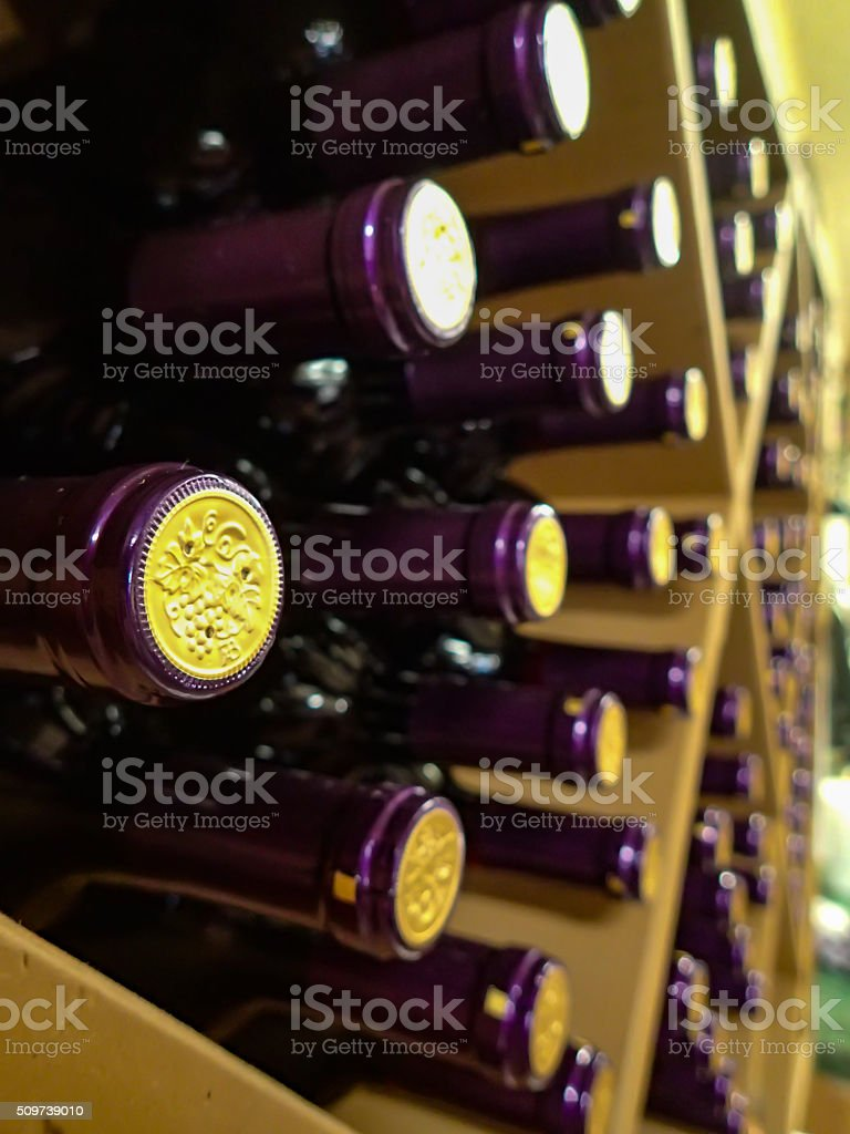 Bottiglie di vino in rack foto stock royalty-free