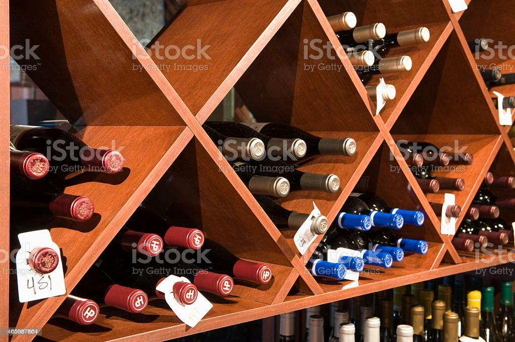 Wine Bottles In Shelves stock photo