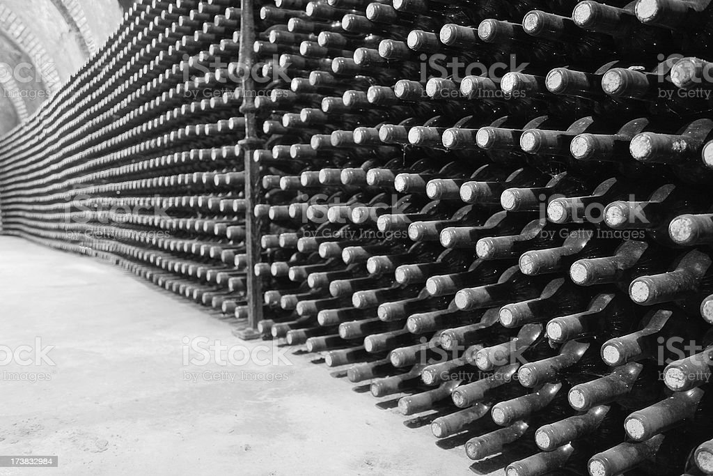 wine bottles in the cellar royalty-free stock photo