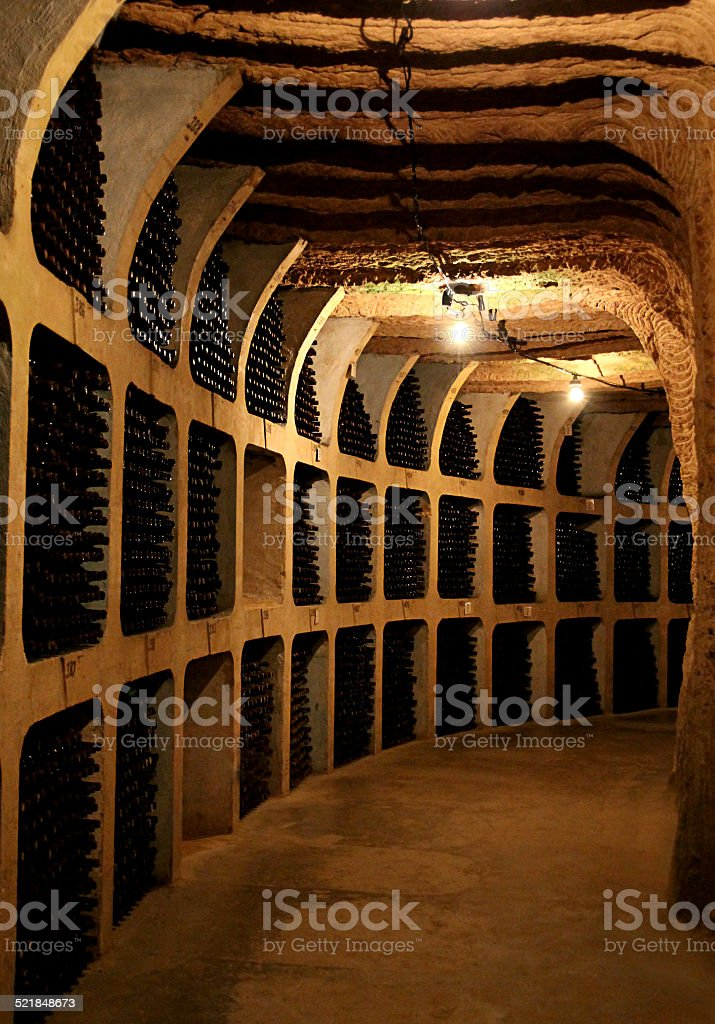 Wine bottles in the cellar stock photo