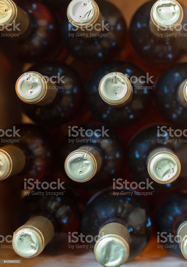 Wine bottles in the wine store. Top view. stock photo