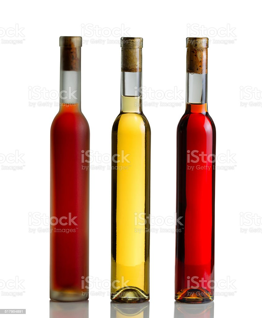 Wine Bottles on White with Reflection stock photo
