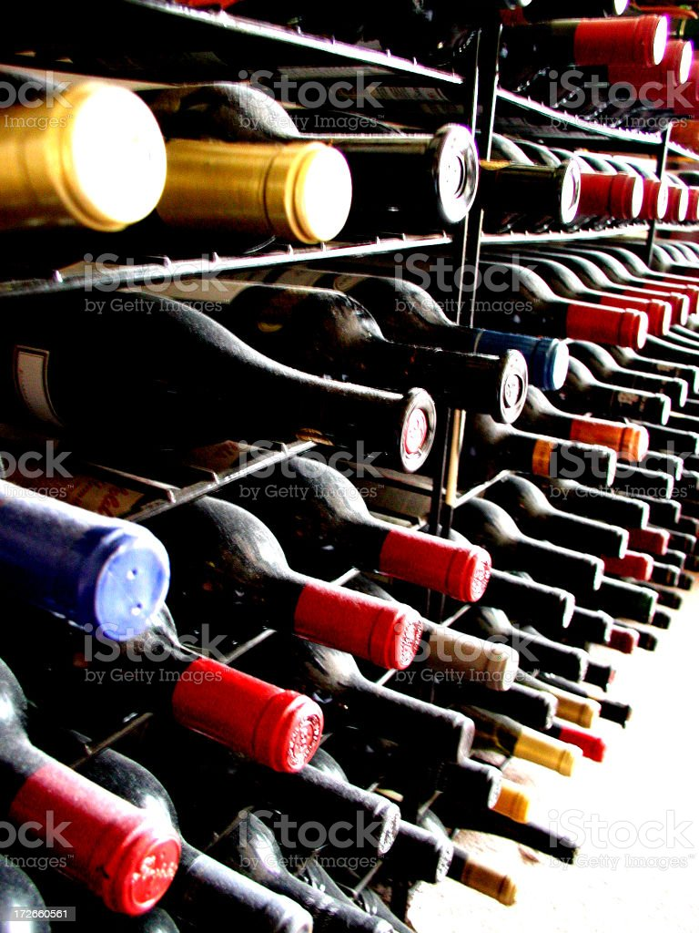 Wine bottles perspective royalty-free stock photo