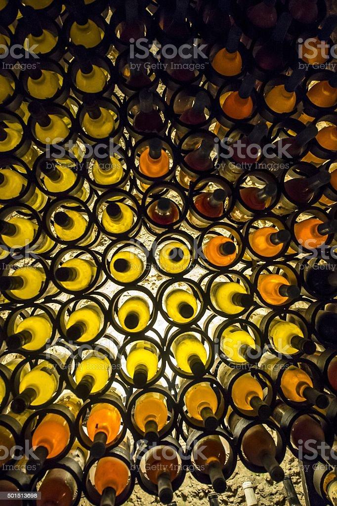 wine bottles rack stock photo