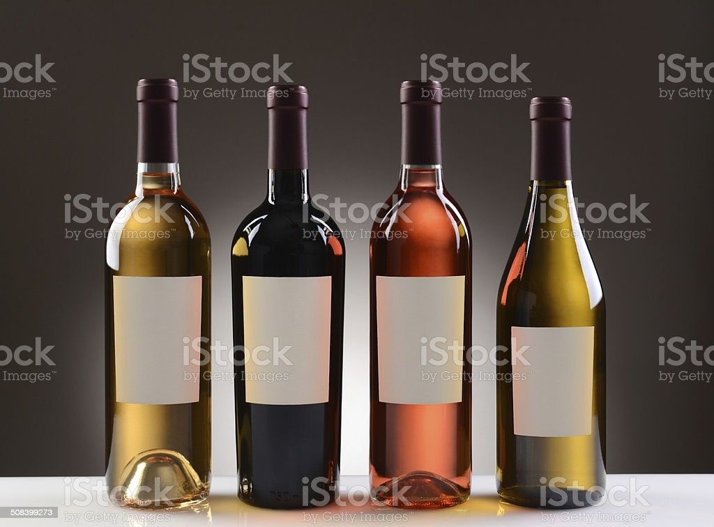 Wine Bottles With Blank Labels stock photo