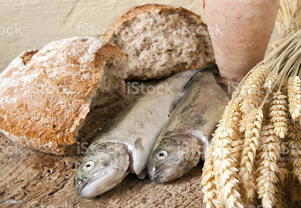 Wine bread and fish royalty-free stock photo
