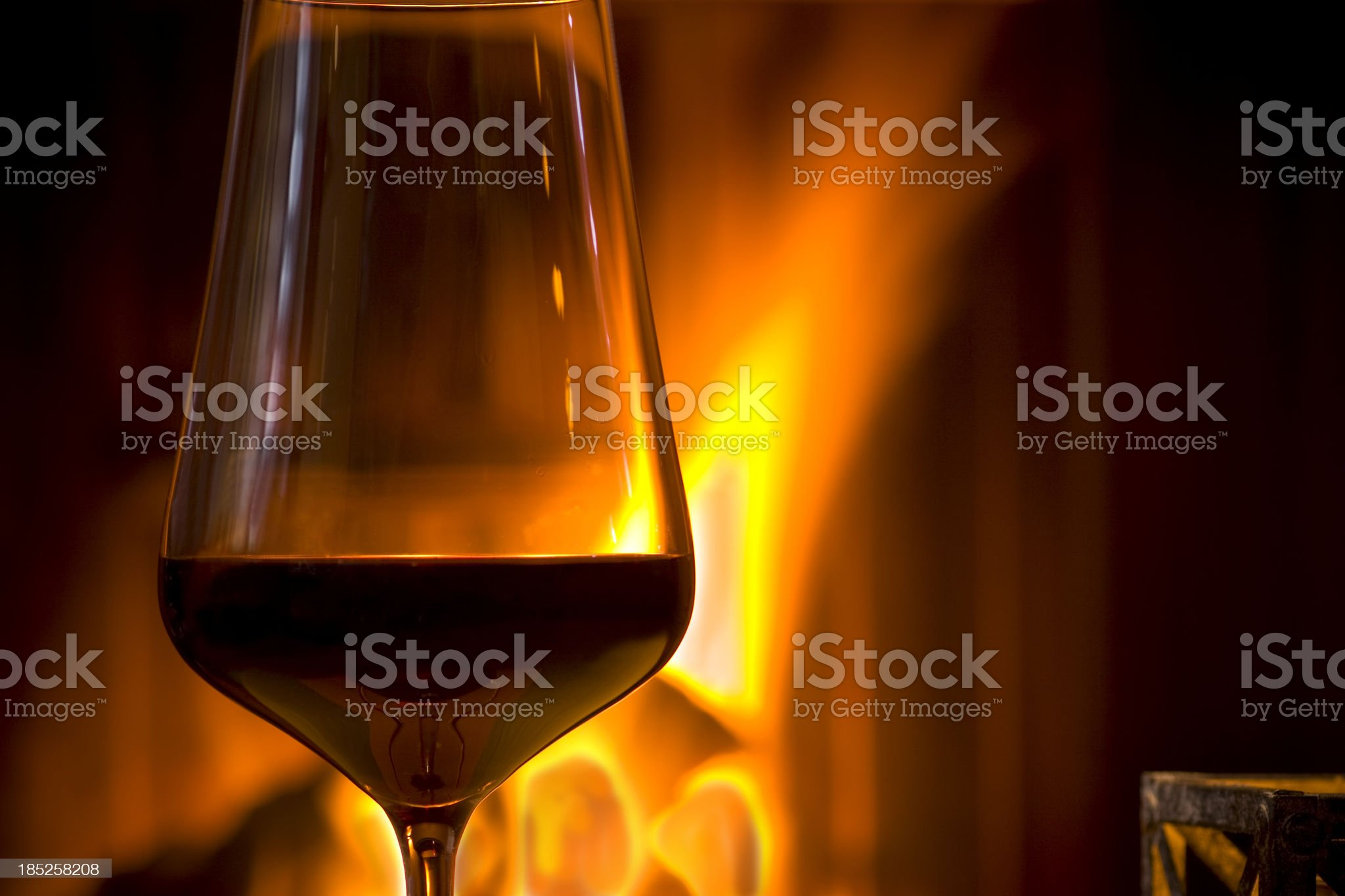 Wine by the Fireplace royalty-free stock photo