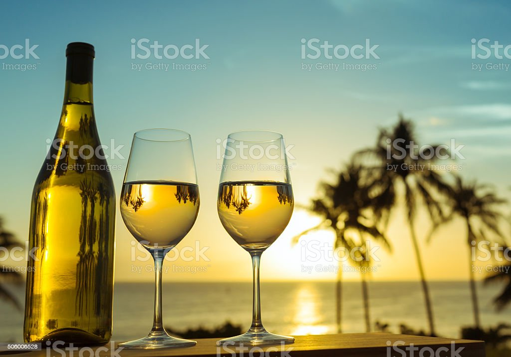 Wine by the sea stock photo
