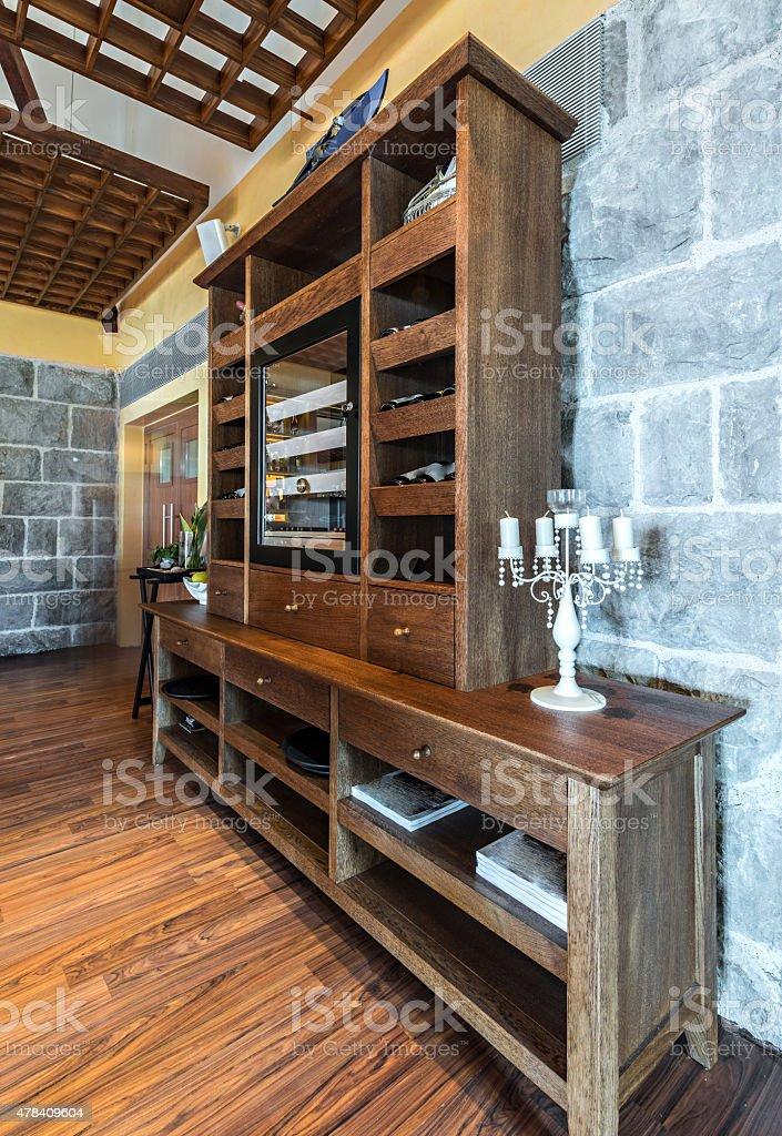 Wine cabinet in the restaurant interior stock photo