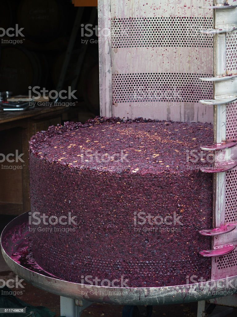 Wine cake in press stock photo